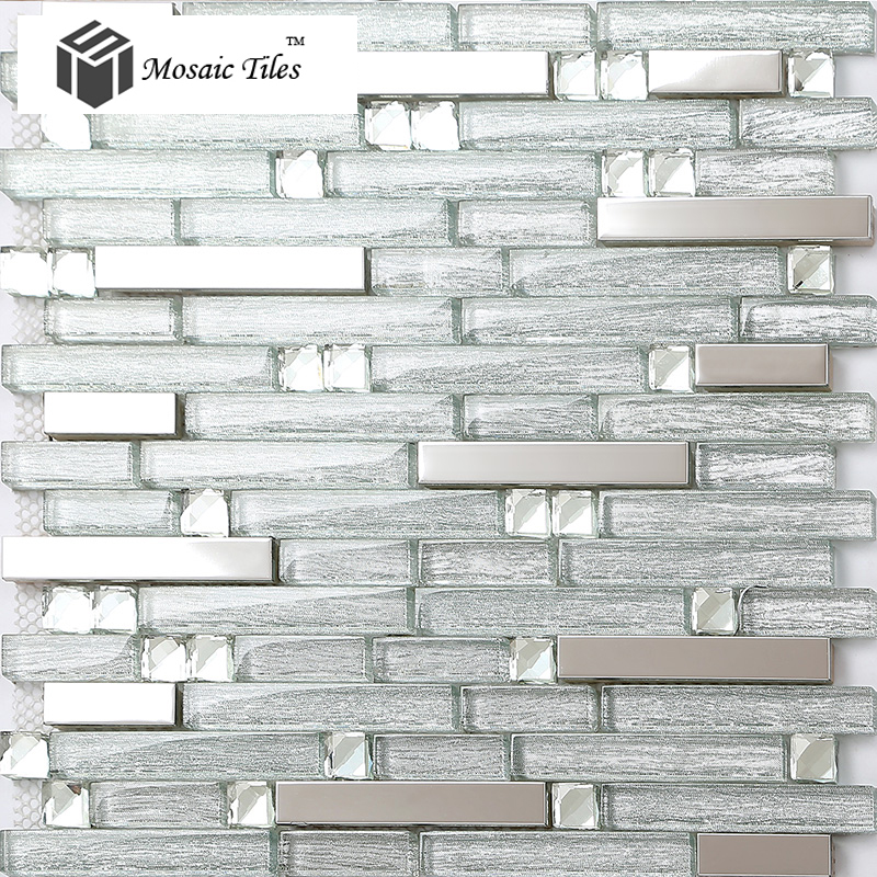 TST Crystal Glass Tile Crystal Glass Tiles Silver Strip Stainless Steel Kitchen Backsplash Bar