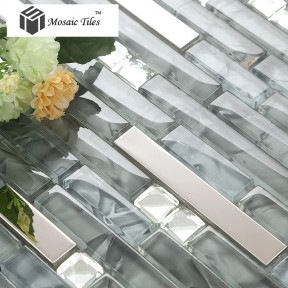 TST Glass Metal Tile  Glass Tile Grey Strip Stainless Steel Backsplash Wall Tiles Fire Place Deco Mesh art Mosaic tile