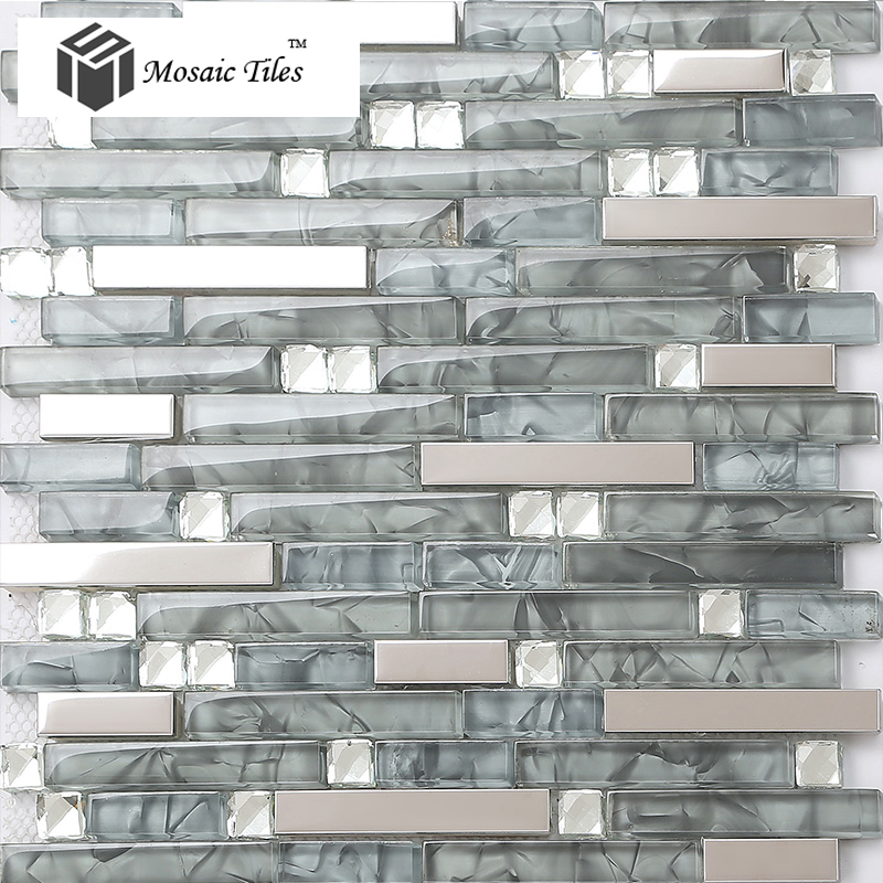 tst glass metal tile glass tile grey strip stainless steel backsplash wall tiles fire place deco - Glass Tiles For Backsplash