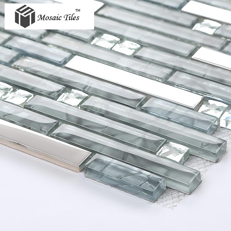 Tst glass mental tile glass tile grey strip stainless for Stainless steel tile backsplash reviews