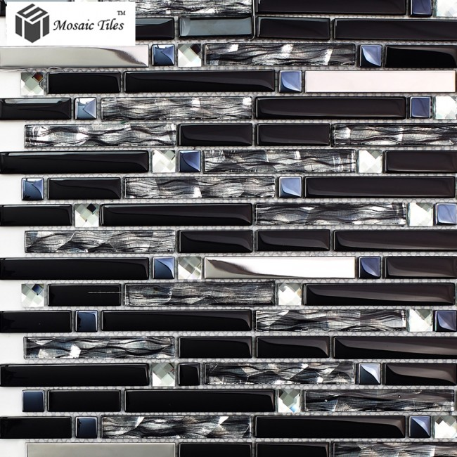 TST Glass Metal Tile  Silver Stainless Steel Porcelain Base Diamond Shinning Strip Tiles Kitchen Backsplash Deco