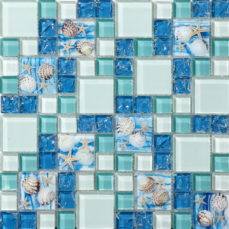 Tst glass conch tiles beach style sea blue glass tile for Bathroom design ideas mosaic tiles