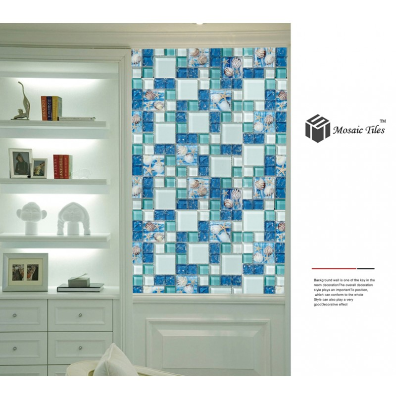 ... TST Glass Conch Tiles Beach Style Sea Blue Glass Tile Glass Mosaics  Wall Art Kitchen Backsplash