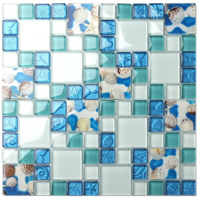 TST Mosaic Tiles Glass Conch Tiles Beach Style Sea Blue Glass Tile Glass Mosaics Wall Art Kitchen Backsplash Bathroom Design