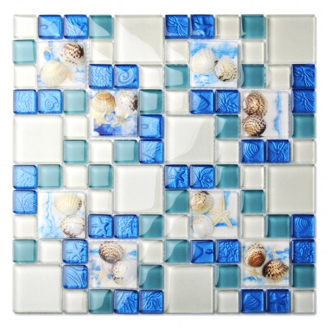 TST Glass Conch Tiles Beach Style Sea Blue Glass Tile Glass Mosaics Wall Art Kitchen Backsplash Bathroom Design TSTGT370-NEW