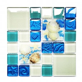 TST Glass Conch Tiles Beach Style Sea Blue Glass Tile TSTGT370 Sample 6 x 6 inches