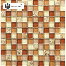 TST Glass Conch Tiles Crystal Glass Mosaic Shell Inside Kitchen Backsplash Brown Beige Tile For Bathroom Shower Deco