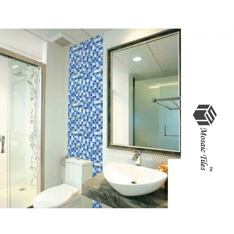 TST Glass Conch Tiles TST Sea Blue Glass Wall Tile Ocean Blue Mosaic ...