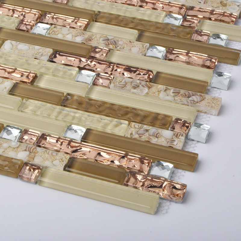 Tst Crystal Glass Tile Rose Gold Conch Beach Style Strip