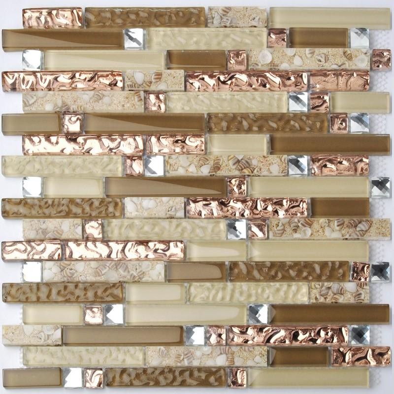 Tst Crystal Gl Tile Rose Gold Beige Conch Beach Style Strip Interlocking Kitchen Backsplash Tiles