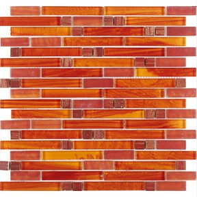 Tst Crystal Glass Mosaic Tile Red Orange Strip Interlocking Backsplash Wall Deco