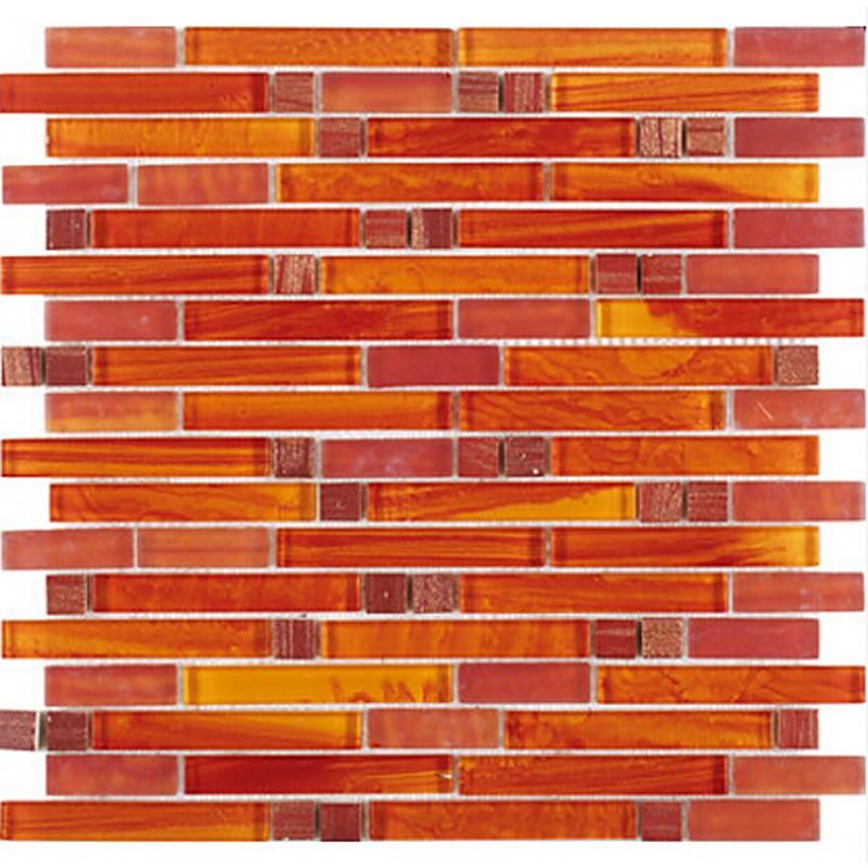 Tst Crystal Glass Mosaic Tile Red Orange Strip