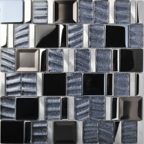 TST Metal Glass Tiles Glitter Wave Black Grey Aluminium Alloy Shinning Wall Dedo Mosaics