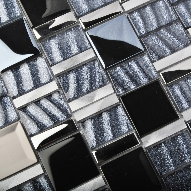 Tst Metal Glass Tiles Glitter Wave Black Grey Aluminium