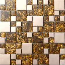 TST Glass Metal Tiles Rose Gold Stainless Steel Tiger Striped Printing  Wall Tiles