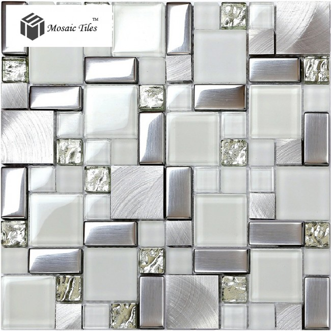 TST Glass Metallic Tile Super White Silver Wave Glass Brushed Aluminium for Kitchen Bath Backsplash TSTMGB025