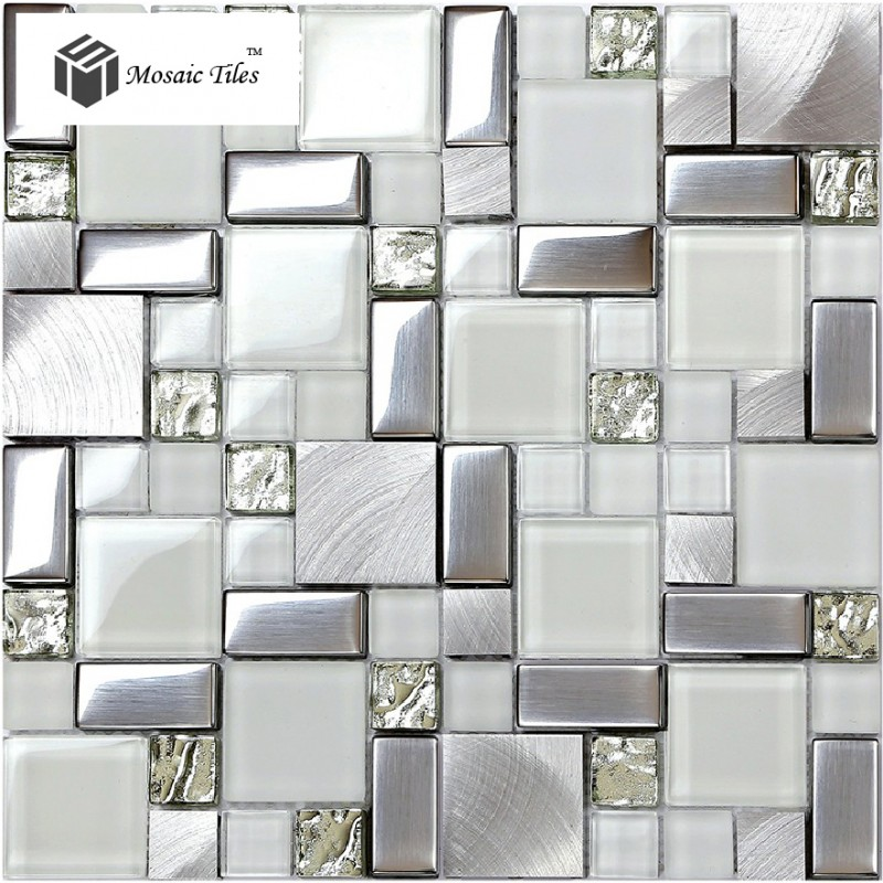 Tst glass metal tile frosted glass silver steel glitter for Kitchen colors with white cabinets with large metal letter wall art