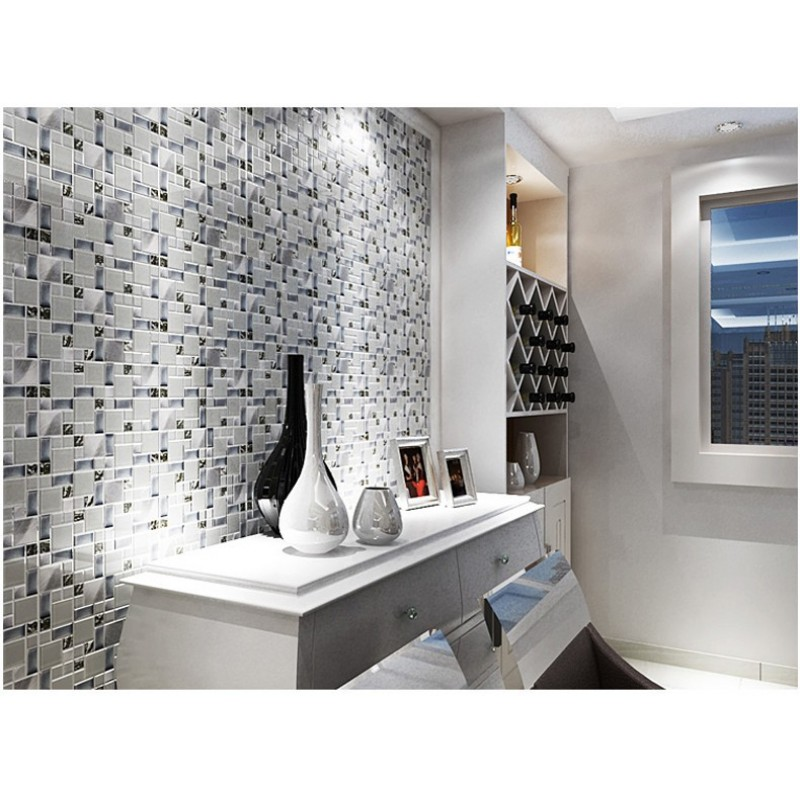 ... TST Glass Metallic Tile Super White Silver Wave Glass Brushed Aluminium  For Kitchen Bath Backsplash TSTMGB025