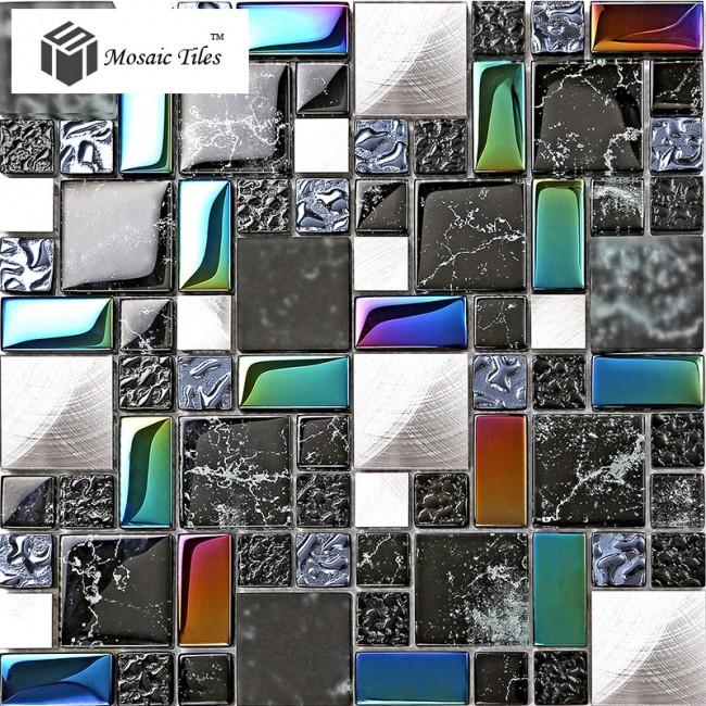 TST Metal Glass Black Tile Iridescent Stone Marks Printings Backsplash Deco