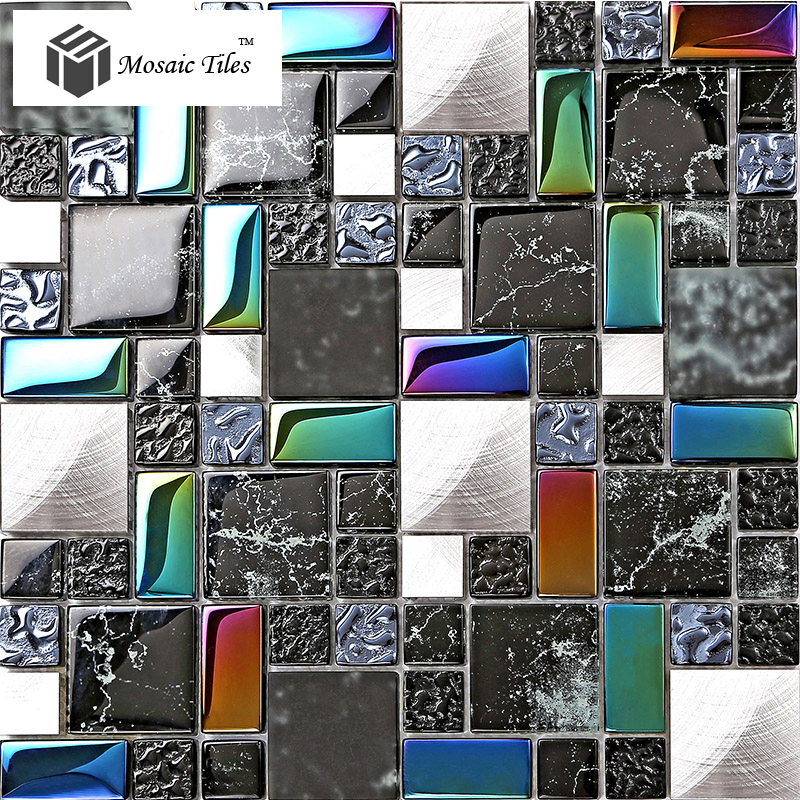 Tst metal glass black tile iridescent stone marks for Installing glass tile with mesh back