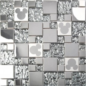 TST Stainless Steel Mickey Mouse Tiles Mirrored Glass Water Drops Metal Tile Backsplash Decor TSTMGB027