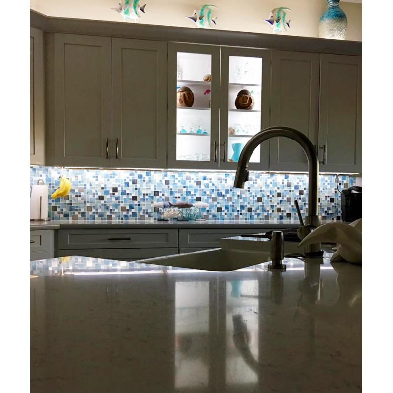 TST Glass Metal Tile Blue Sky Cloud White Kitchen Bath Backsplash ...