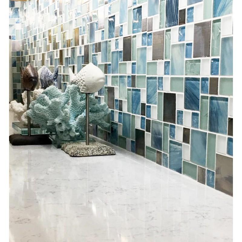 White Penny Tile >> TST Glass Metal Tile Blue Sky Cloud White Kitchen Bath ...