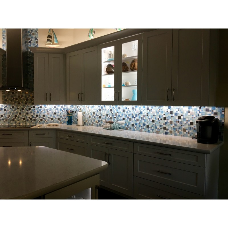 Tst Glass Metal Tile Blue Sky Cloud White Kitchen Bath Backsplash Mosaic Art