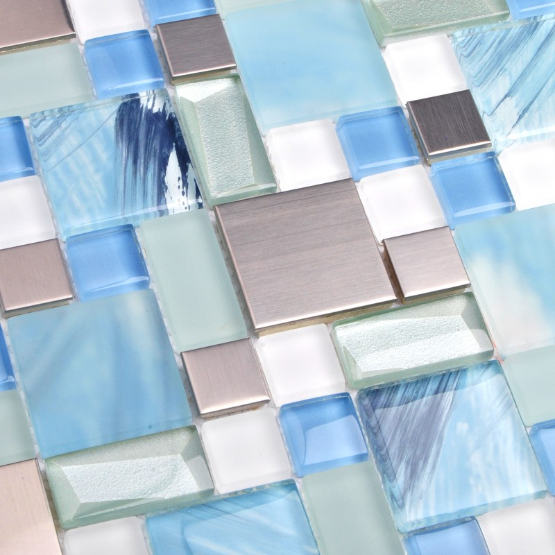 5 Square Feet Sea Blue Green Glass Stainless Steel Tile White Kitchen Bath Backsplash Artistic Mosaic TSTMGB028
