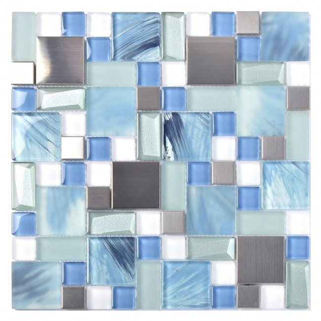 TST Glass Metal Tile Sea Blue Green White Kitchen Bath Backsplash Mosaic TSTMGB028