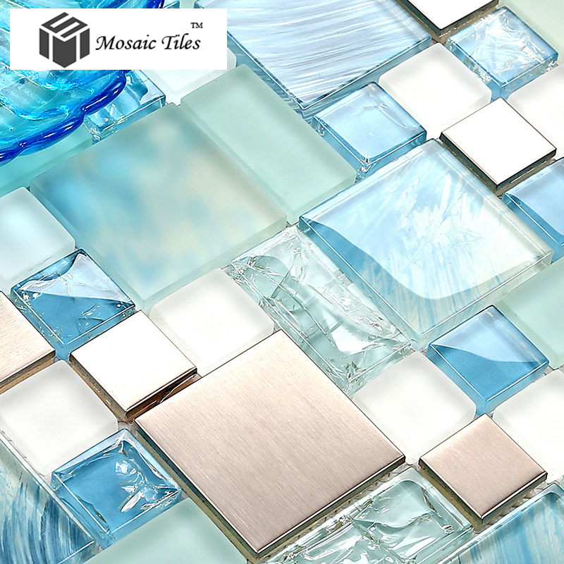 Tst Glass Metal Tile Blue Sky Cloud White Kitchen Bath