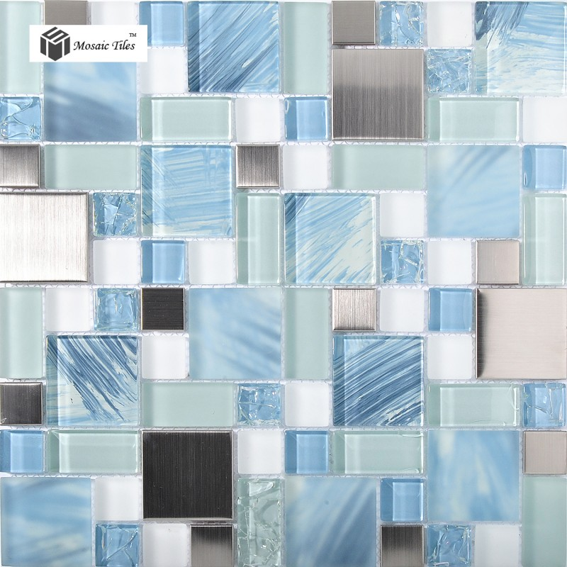tst glass metal tile sea blue aqua white kitchen bath backsplash mosaic tstmgb028 - Mosaic Tiles
