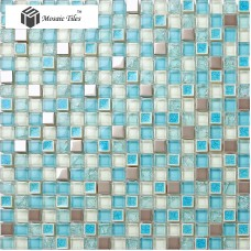 TST Glass Metal Tile Blue Stainless Steel Porcelain Grids Bath Backsplash Mosaic Art