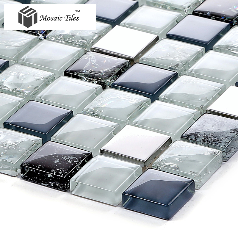 Tst glass metal tile blue steel inner crackle chips bath for Blue crackle glass bathroom accessories