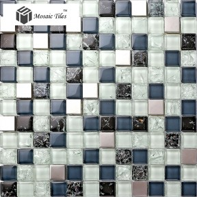 TST Glass Metal Tile Blue Steel Inner Crackle Chips Bath Kitchen Remodeling Decor