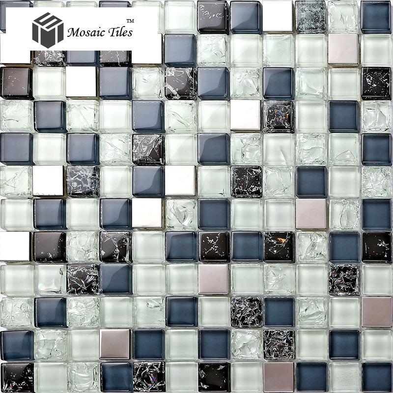 TST Glass Metal Tile Blue Steel Inner Crackle Chips Bath Kitchen ...