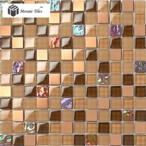 TST Glass Metal Tile Amber Frosted Iridescent Chips Mosaic Home Deco Art