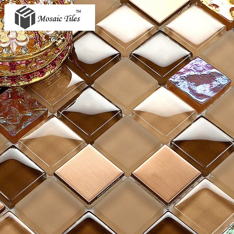 TST Glass Metal Tile Amber Frosted Iridescent Chips Mosaic Home ...