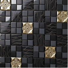 TST Glass Metal Tile Black Gorgeous Golden Flower Mosaic Art Interior Design