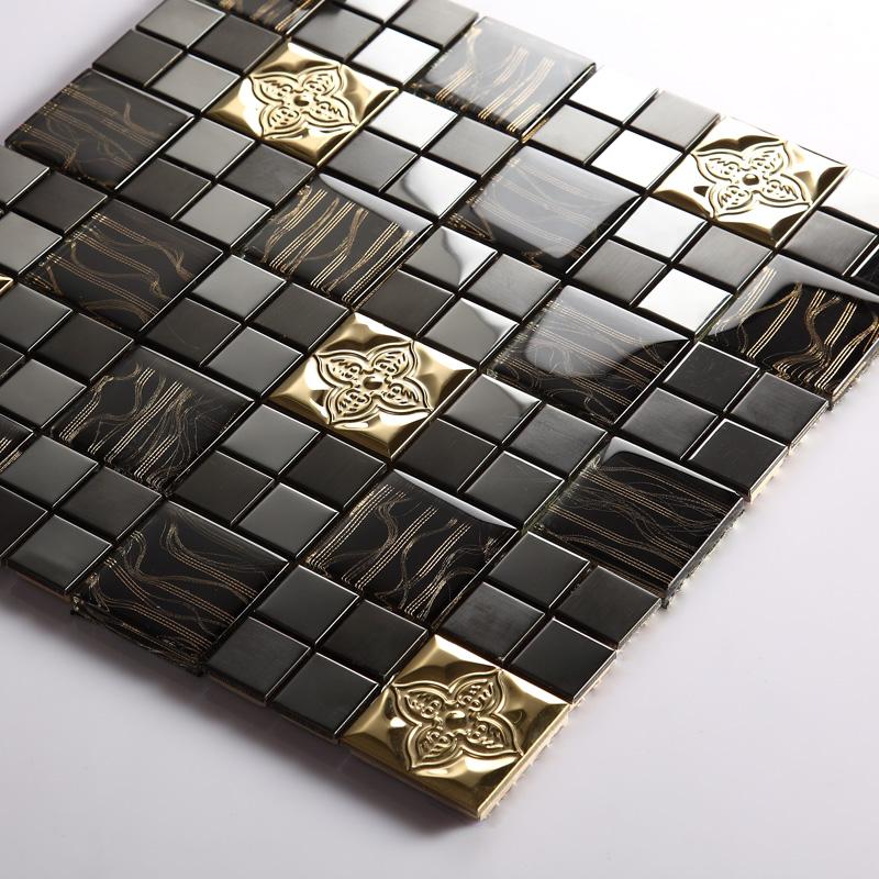 Tst Glass Metal Tile Black Gorgeous Golden Flower Mosaic