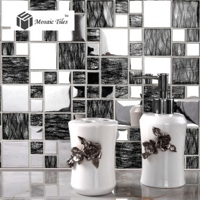 TST Glass Metal Tile Black & Silver Laminated Glass Backsplash Mosaic Decor Art