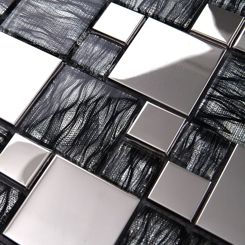tst glass metal tile black   silver laminated glass