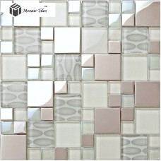 TST Glass Metal Tile Pink Steel Oval Pattern Chips Mosaic Home Deco Art