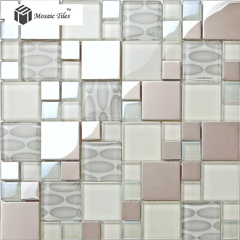 Tst Gl Metal Tile Pink Steel Oval Pattern Chips Mosaic Home Deco Art