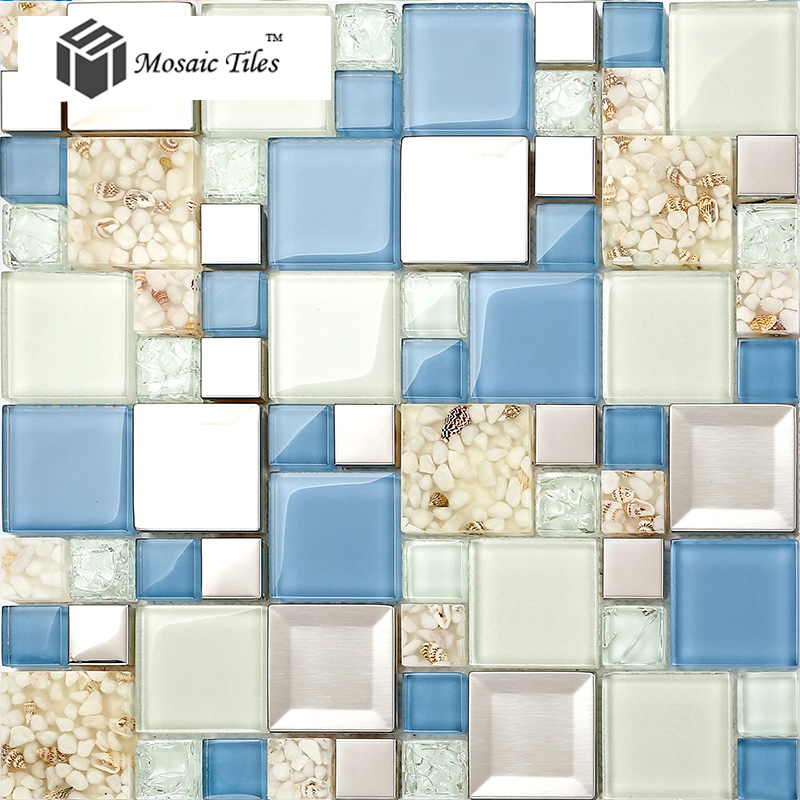 TST Glass Metal Tile Blue & White Conch Steel Mosaic Bath Background ...