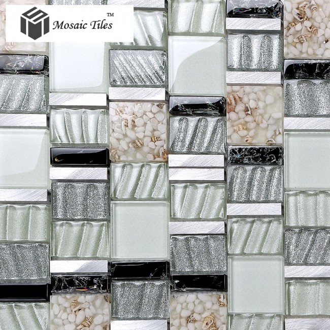 TST Glass Metal Conch Tile Black & White Aluminum Mosaic Interior Remodeling