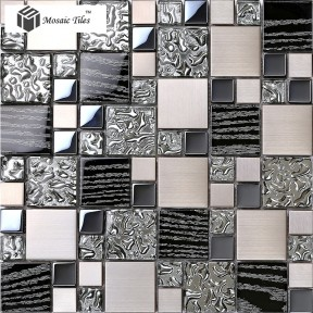 TST Glass Metal Tile Black Silver Waterdrops Design Chips Mosaic Deco Art