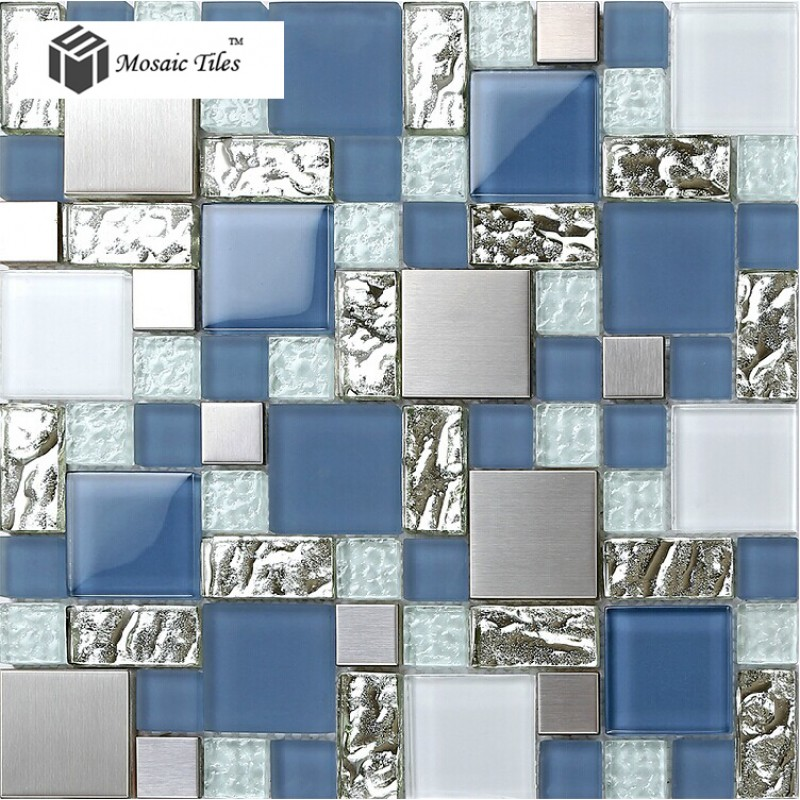 Tst glass metal tile blue silver steel frsoted glass for Blue and silver bathroom sets