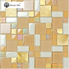 TST Glass Metal Tile Yellow Flower Sculpture on Surface Aluminum Chips Mosaic Bath Deco Art