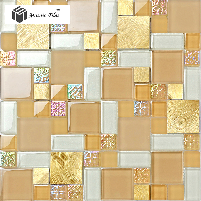 Tst glass metal tile yellow flower sculpture on surface for Yellow mosaic bathroom tiles